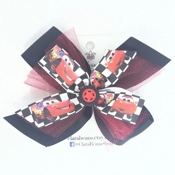 Lightening McQueen Cars hair bow - Clara Beaus Co