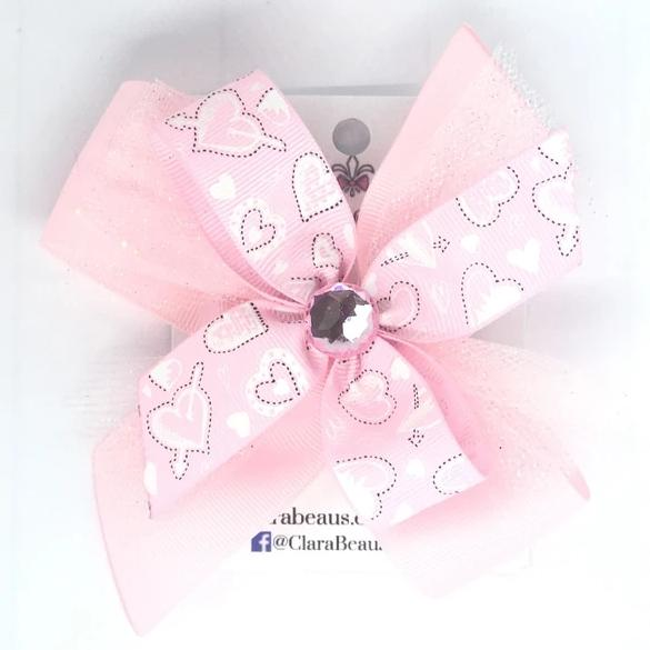 Valentines Light Pink Heart Hair Bow - Clara Beaus Co