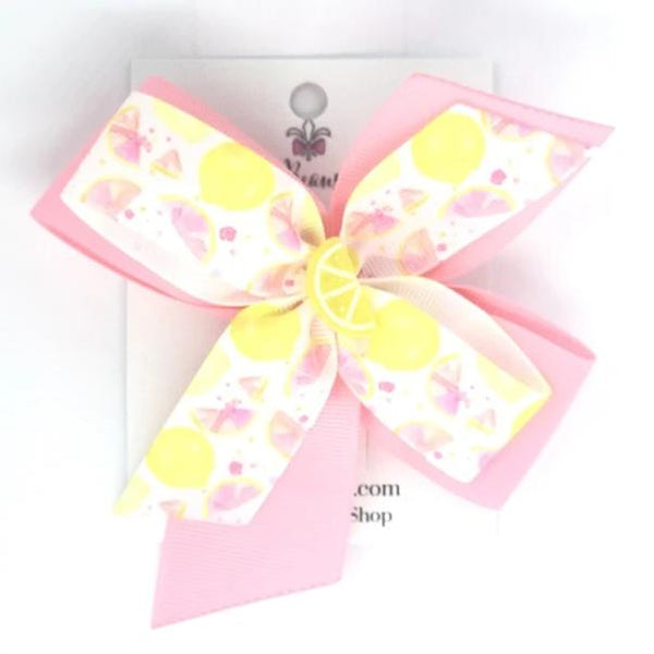 Pink Lemonade Hair Bow - Clara Beaus Co