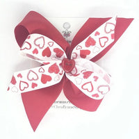 Valentines Red Construction Heart Hair Bow - Clara Beaus Co