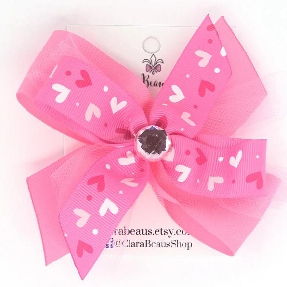 Valentines Bright Pink Heart Hair Bow - Clara Beaus Co