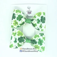 Shamrock St. Patrick's Day Pig Tail Bow Set - Clara Beaus Co