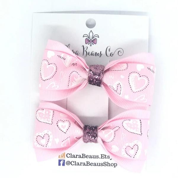 Valentines Pink Hearts Pig Tail Bow Set - Clara Beaus Co