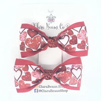 Valentines Red Hearts Pig Tail Bow Set - Clara Beaus Co