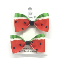 Watermelon Pig Tail Bow Set - Clara Beaus Co