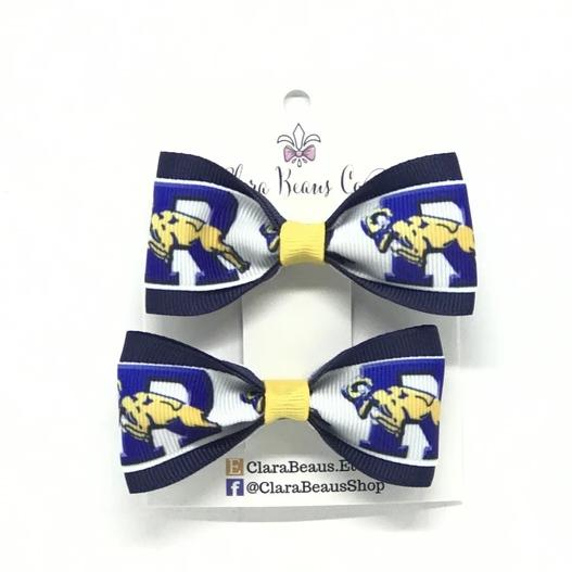 Ringgold logo pig tail hair bows - Clara Beaus Co