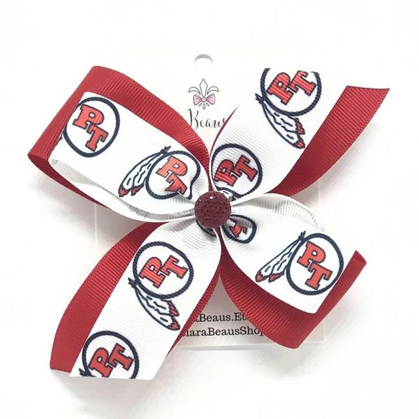 Peters Township logo hair bows - Clara Beaus Co