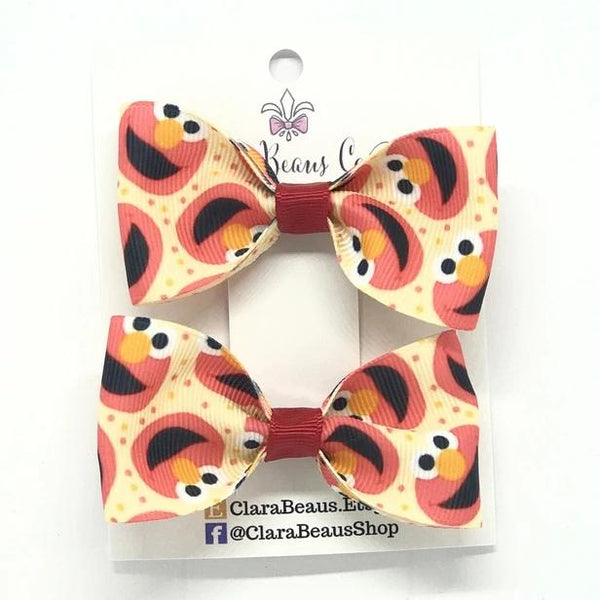 Elmo Pig Tail Bow Set - Clara Beaus Co