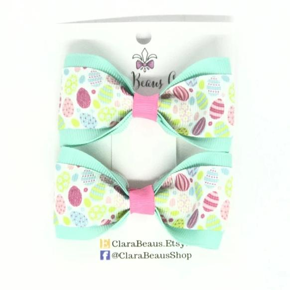 Easter Egg Pig Tail Bow Set - Clara Beaus Co