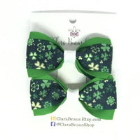 Shamrock Pig Tail Bow Set - Clara Beaus Co