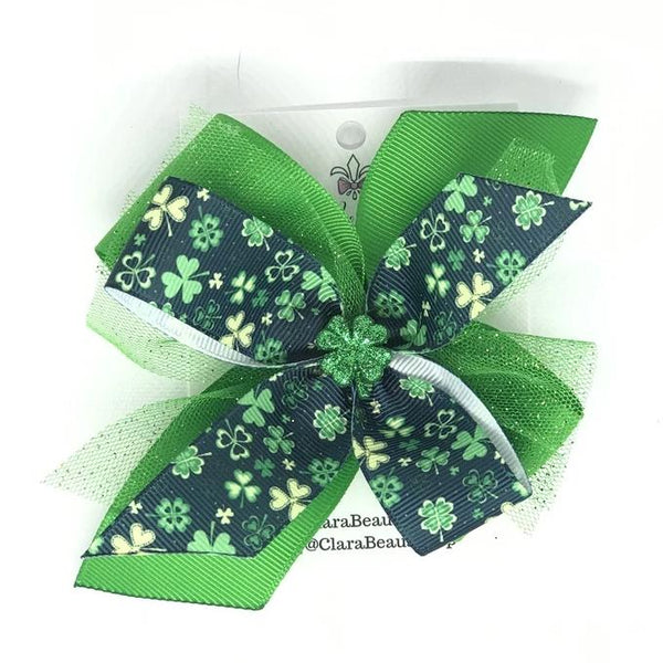 Shamrock Hair Bow - Clara Beaus Co