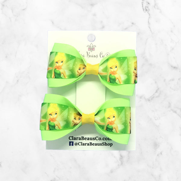 Tinkerbelle Pig Tail Bow Set