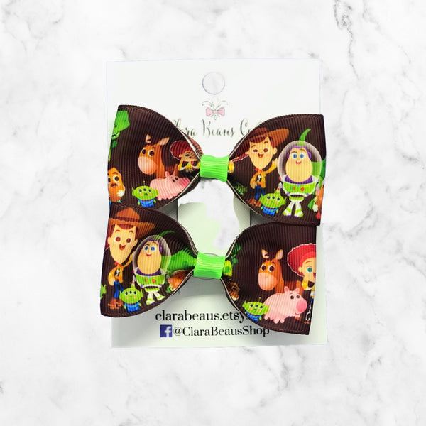 Toy Story Inspired Pig Tail Hair Bow Set