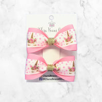 Unicorn Pink/Gold Pig Tail Bow Set