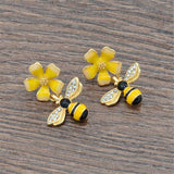 Yellow Flower Bee Earrings - my LUX style