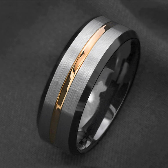 Gold Stripe Stainless Steel Ring - my LUX style