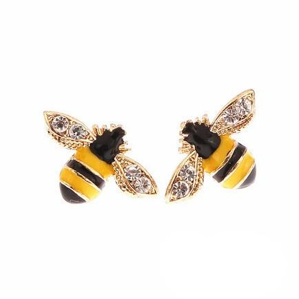 Rhinestone Bee Studs Earrings - my LUX style