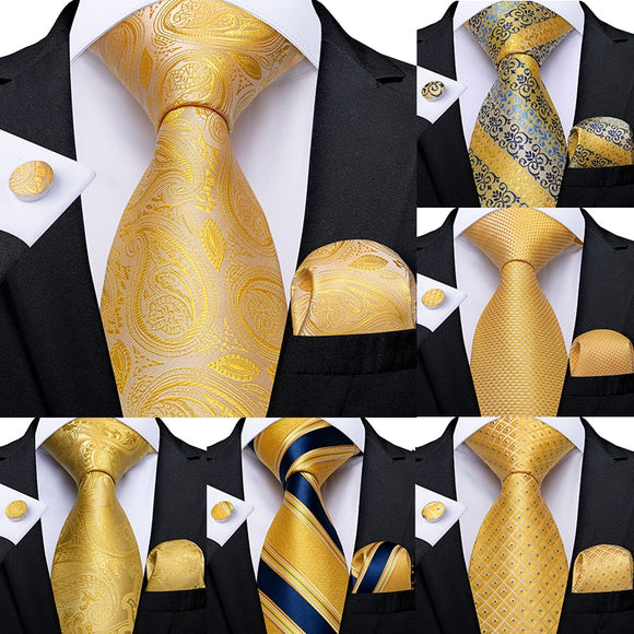 Yellow Striped  Wedding Tie - my LUX style