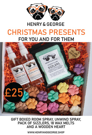 Gift boxed Room spray, Unwind spray, Sizzlers, 18 wax melts and wooden heart