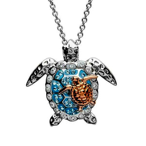 Sterling Silver Hand-Enameled Turtle Necklace