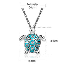 Load image into Gallery viewer, Sterling Silver Hand-Enameled Turtle Necklace