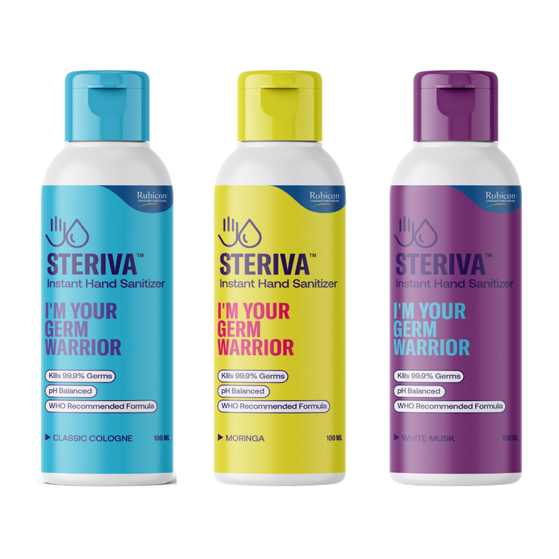 Steriva 80% Alcohol-based Hand Sanitizer (100ml) - WHO Recommended Formula, 99.9% Germ Protection