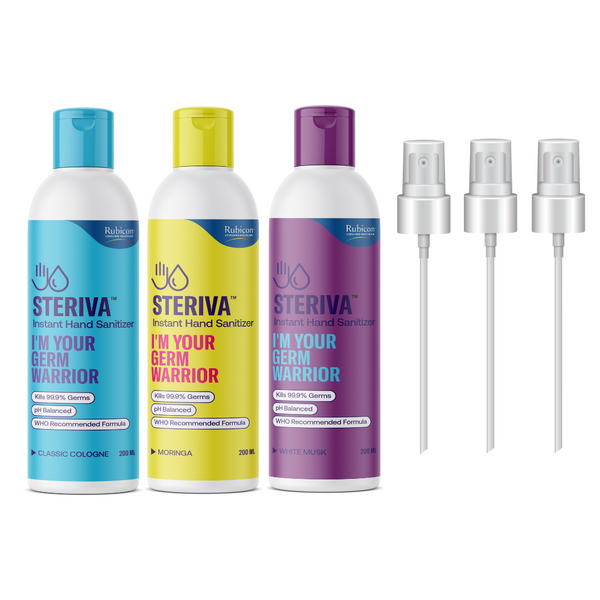 Steriva 80% Alcohol-based Hand Sanitizer (3 x 200 ml) - WHO Recommended Formula, 99.9% Germ Protection, 3 Fragrances, Spray Attachment