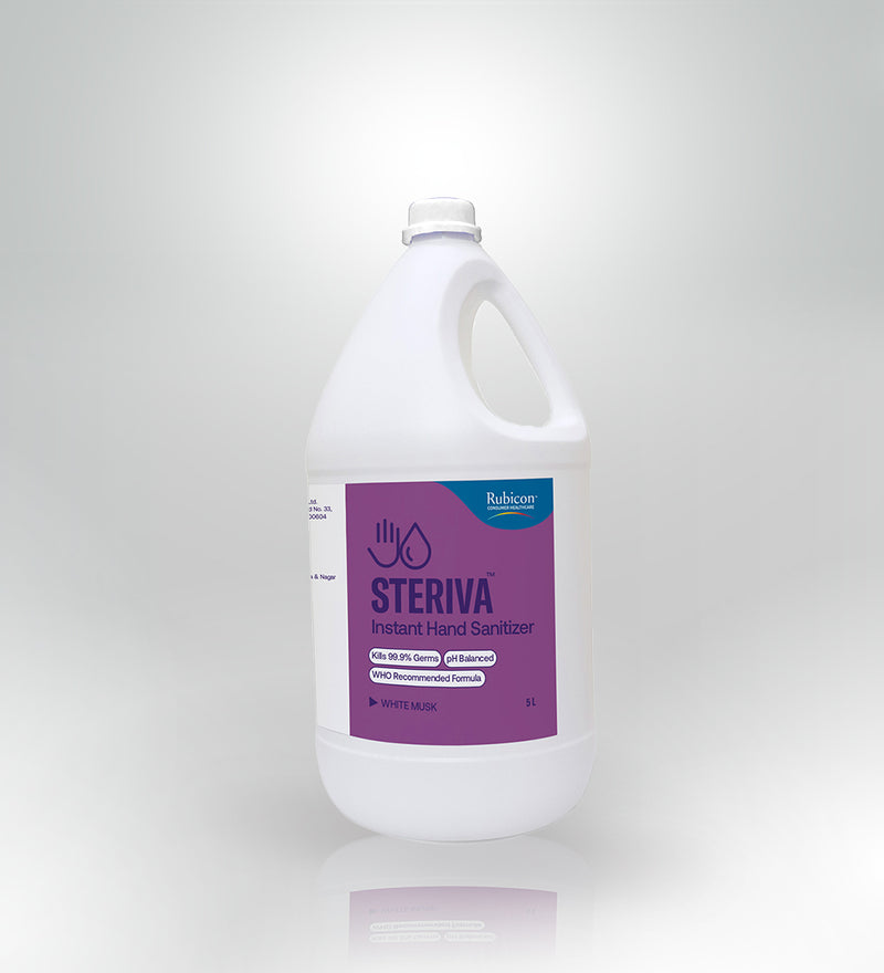 Steriva Hand Sanitizer (1 X 5000ml) - 80% Alcohol, WHO Recommended Formula, 5 Signature Fragrances