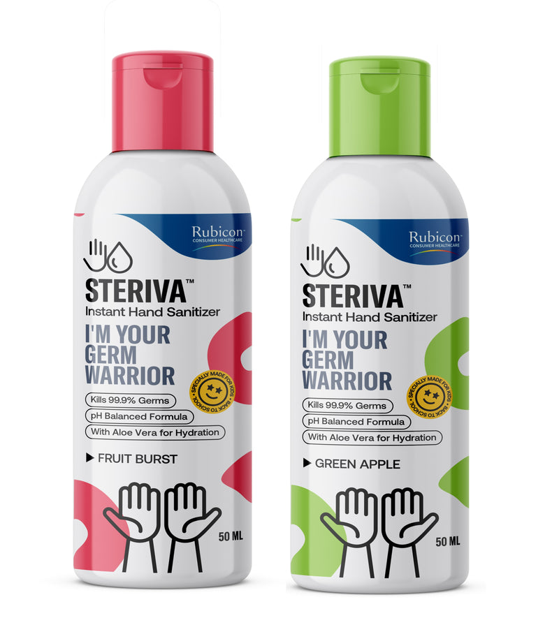 Steriva 62% Alcohol-based Kids Hand Sanitizer (50ml) - 99.9% Germ Protection, With Aloe Vera for Sensitive Skin, 2 Fragrances (Fruit Burst, Green Apple)