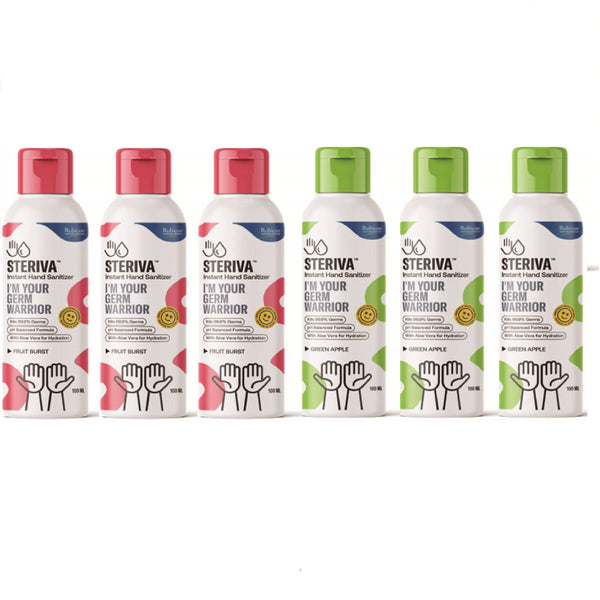 Steriva 62% Alcohol-based Kids Hand Sanitizer (100ml, Pack of 6) - 99.9% Germ Protection, With Aloe Vera for Sensitive Skin, 2 Fragrances (Fruit Burst, Green Apple)