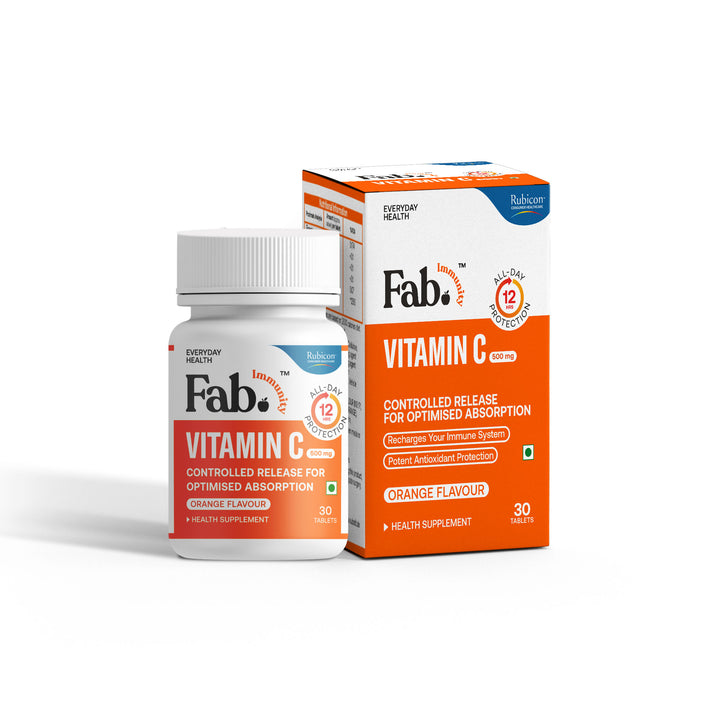 Rubicon Fab Immunity Vitamin C Controlled-Release Glides | Immunity Booster | Potent Antioxidant Protection | Orange Flavour | 30 Tablets