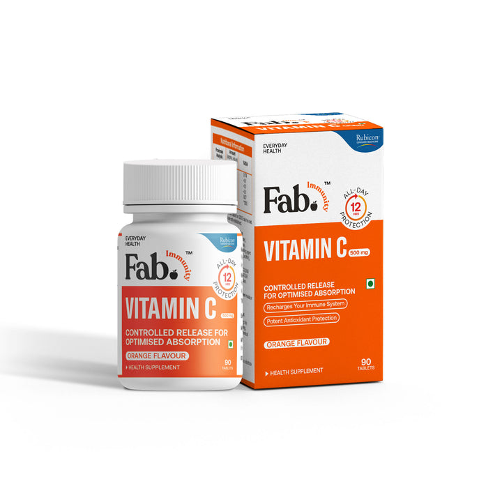 Rubicon Fab Immunity Vitamin C Controlled-Release Glides | Immunity Booster | Potent Antioxidant Protection | Orange Flavour | 90 Tablets