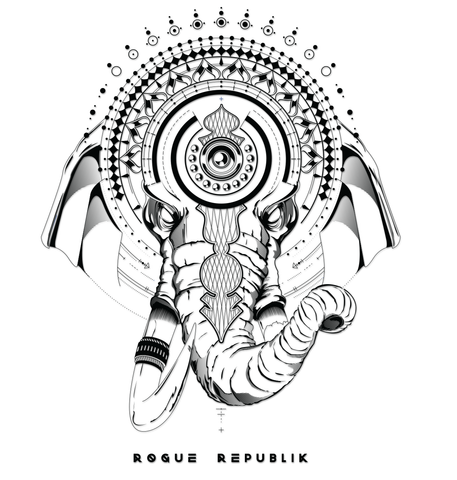 Ganesha Sticker ( Black graphic, transparent back round)