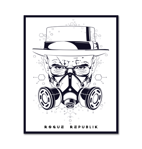 Heisenberg sticker (Black graphics on a White back round)