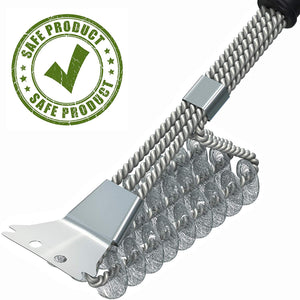 Heavy Duty Stainless Steel BBQ Bristle Free Grill Brush with Scraper