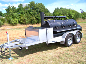 "Horizon Smoker Cover 30"" Wide Slide-Out Table with Stainless Steel - Smoker Guru"