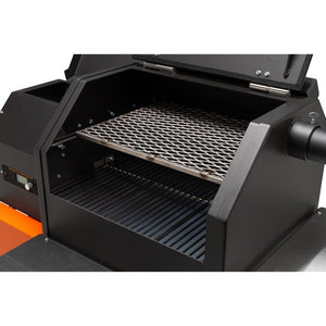 Yoder Smokers YS480s Pellet Grill with ACS on Competition Cart - Stainless shelves
