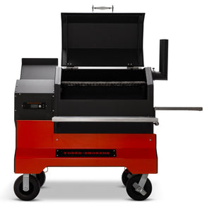 Yoder Smokers YS640s Pellet Grill with ACS on Competition Cart - Stainless shelves