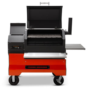 Yoder Smokers YS640s Pellet Grill with ACS on Competition Cart - Stainless shelves - Smoker Guru