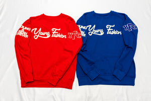 YOUNG FASHION 16 Red Cream & Royal Cream Classic Spring Crew Neck