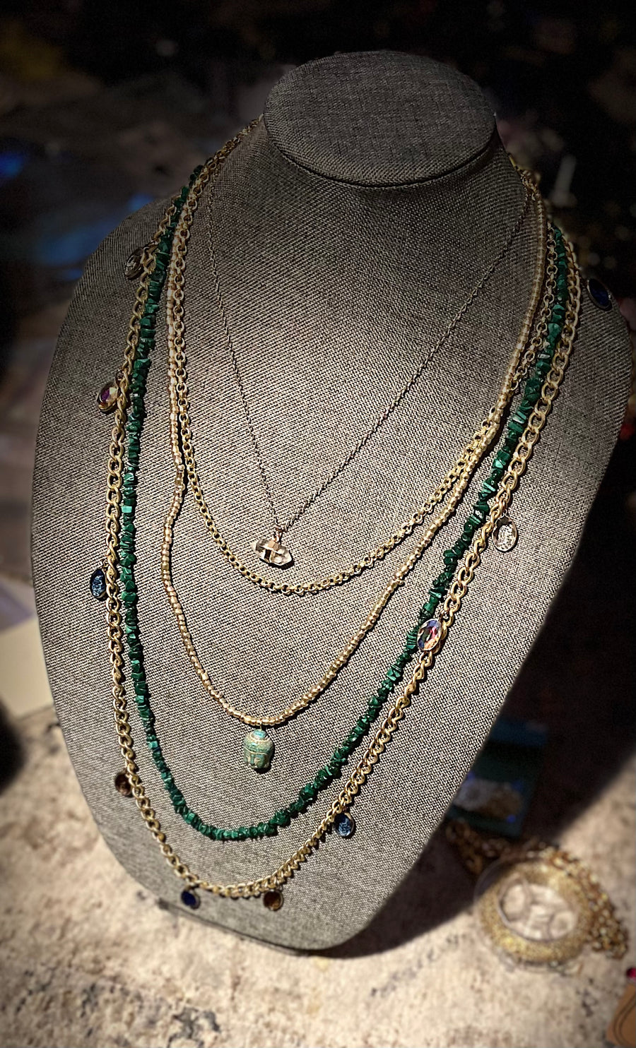 14kt Gold Filled and Genuine Turquoise Multi-Strand Necklace