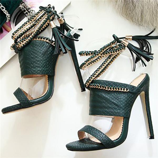 Mascori Chain Bandage Double Tassel Stiletto Sandals