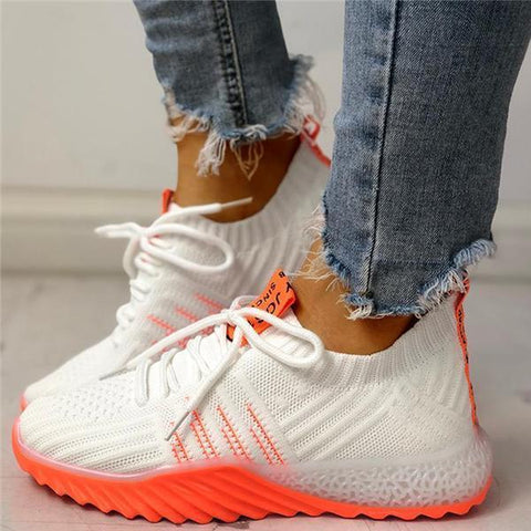 Mascori Colorblock Knitted Breathable Lace-Up Women Sneakers