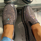 Mascori Women Casual Fashion Rhinestone Slip-on Loafers/ Sneakers