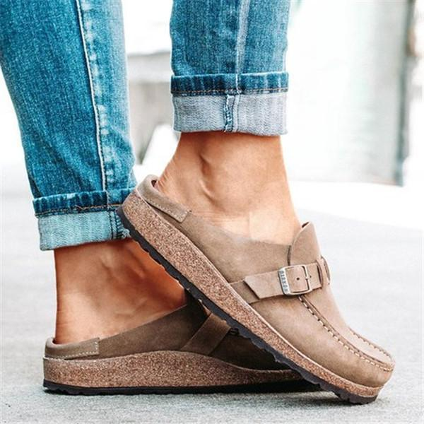 Mascori Women Casual Comfy Leather Slip On Sandals