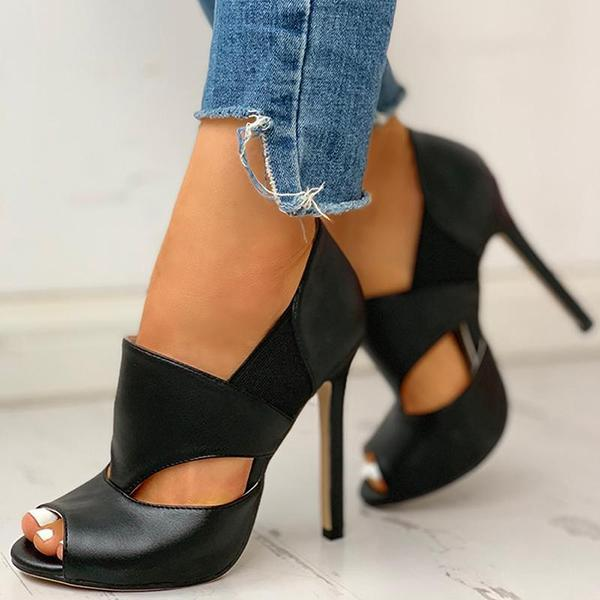 Mascori Solid Hollow Out Design Peep Toe Thin Heels