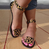 Mascori Women Summer Faux Suede Leopard Sandals
