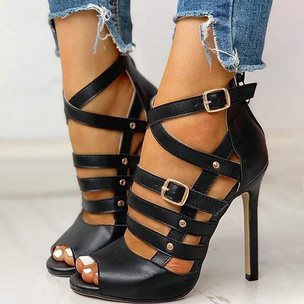 Mascori Solid Hollow Out Ankle Strap Thin Heeled Sandals