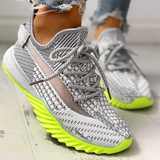 Mascori Net Surface Breathable Lace-Up Yeezy Sneakers