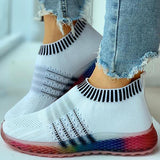 Mascori Colored Bottom Striped Breathable Casual Sneakers